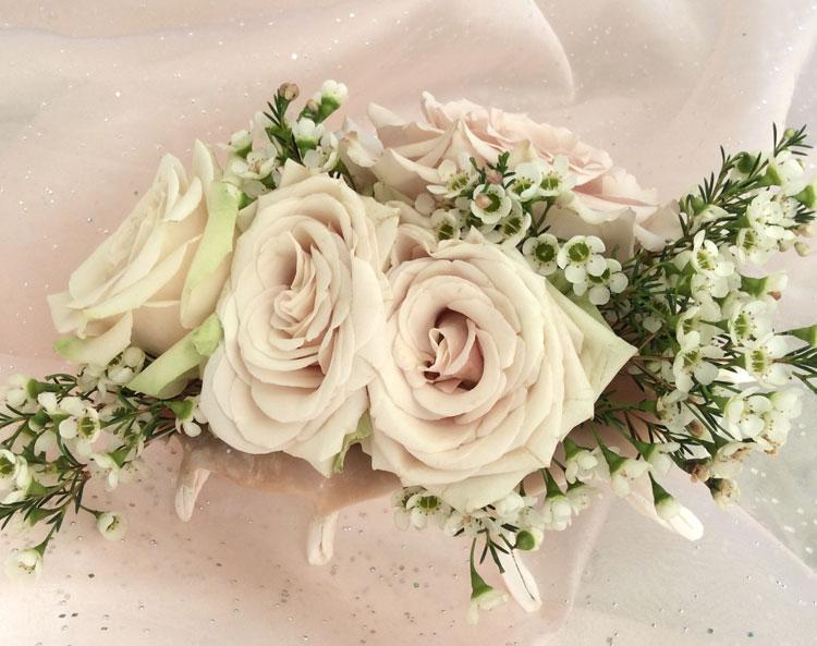 Beautiful flower arrangement in conch shell