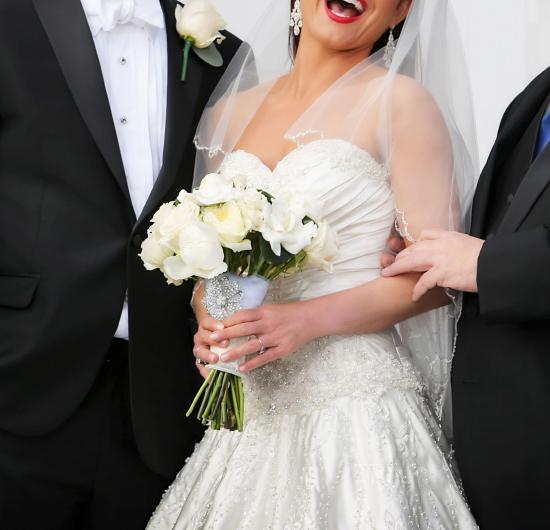 Joyful bridal bouquet in white