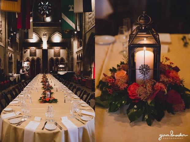 Lantern centerpieces at Hammond Castle wedding