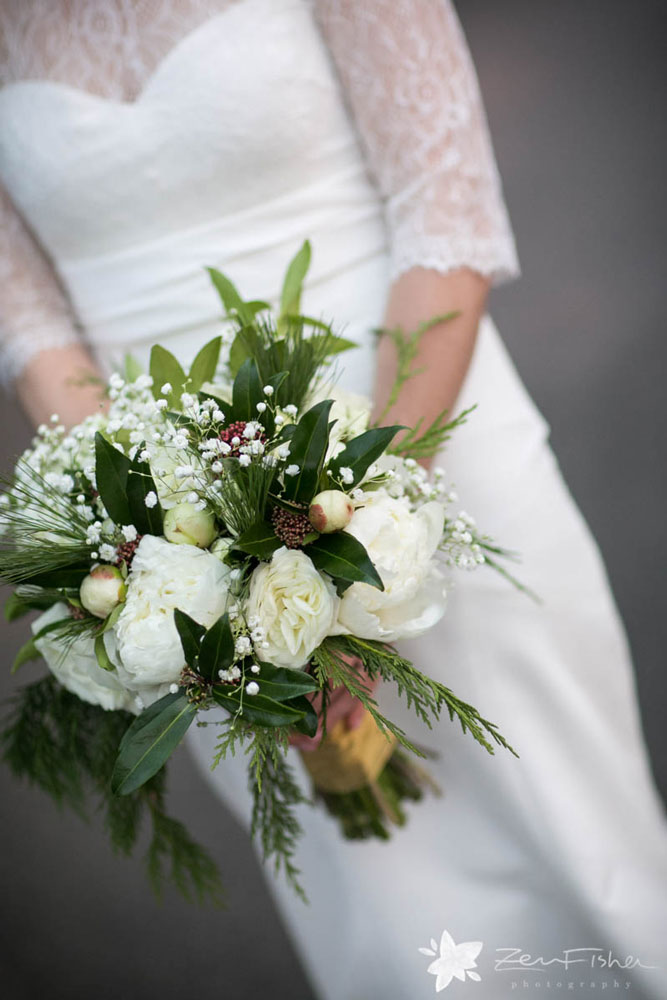 Bridal bouquet for winter months with white peonies