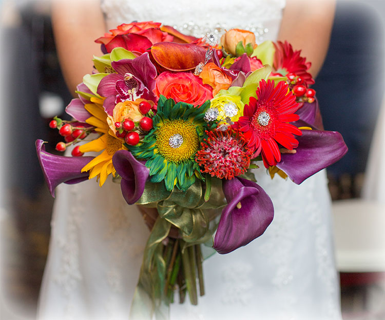 Pop Colored Bejeweled Bridal Bouquet