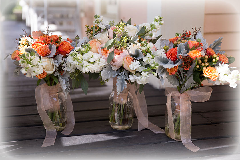 Bridal Bouquets: Peach & Pink Roses with Dusty Miller