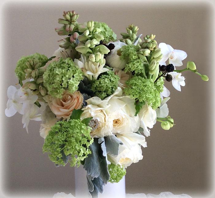 Peach, White & Soft Greens Bridal Bouquet