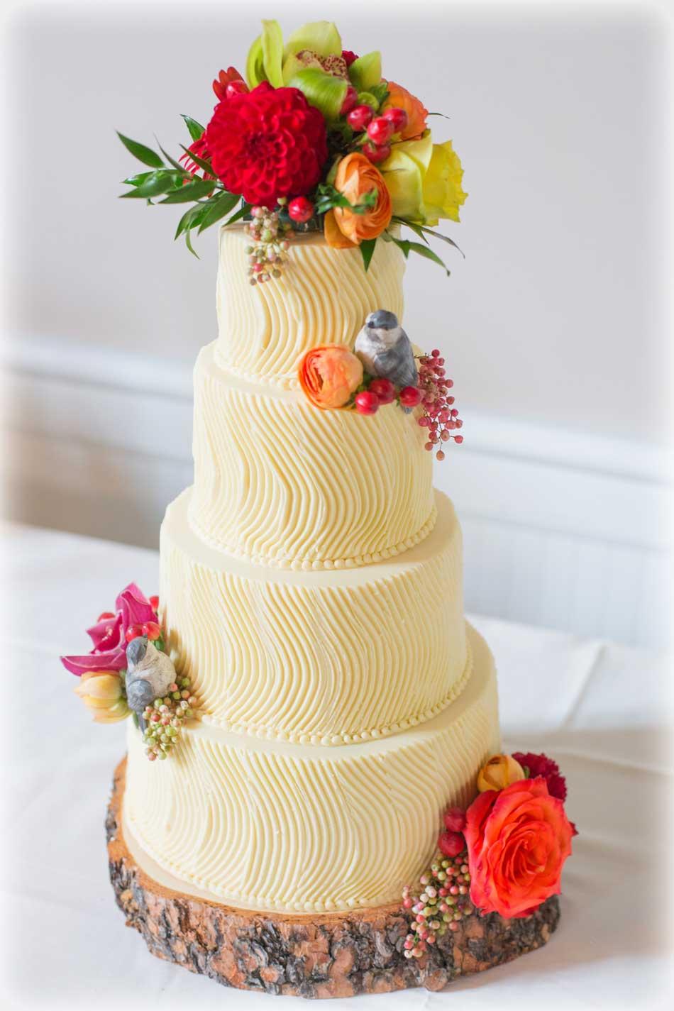 Wedding Cake with Fresh Flowers