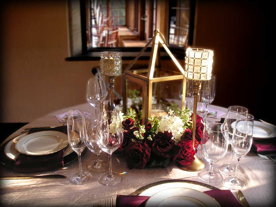 Wedding Reception Centerpieces with Lanterns & Roses