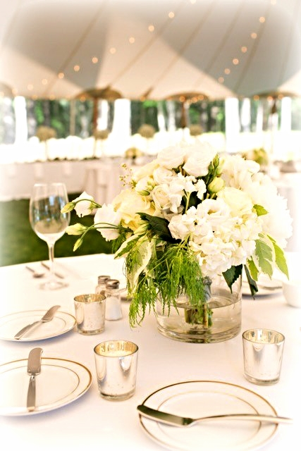 White Themed Reception Centerpieces