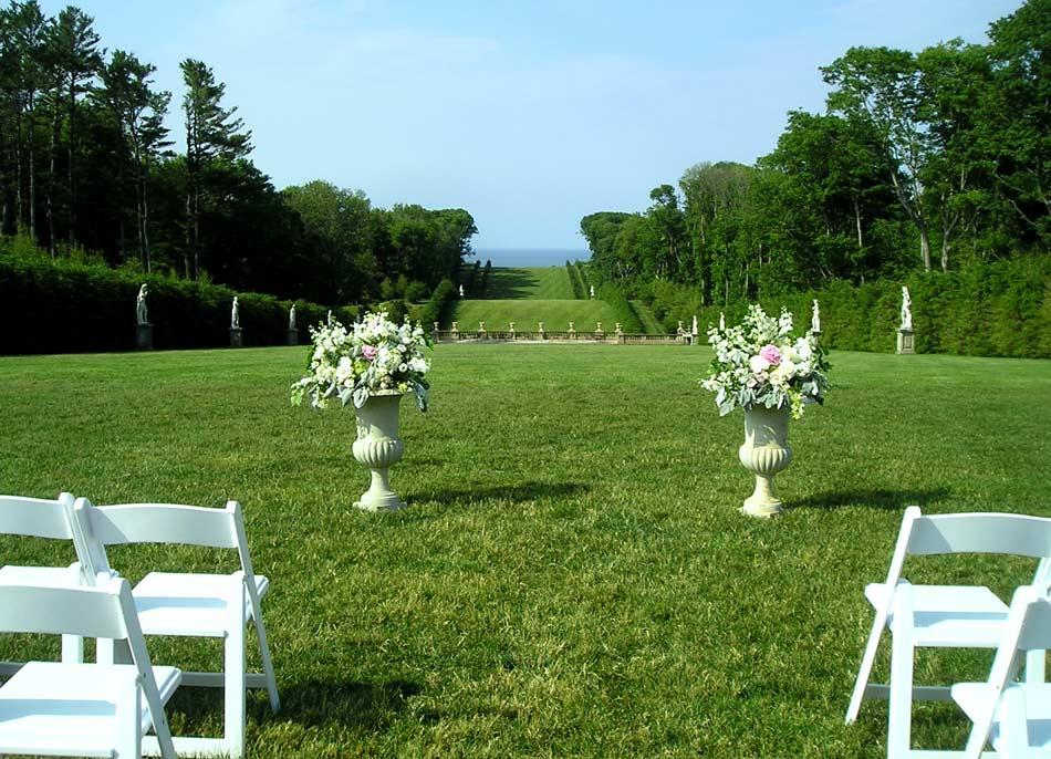 Wedding ceremony flowers at The Crane Estate