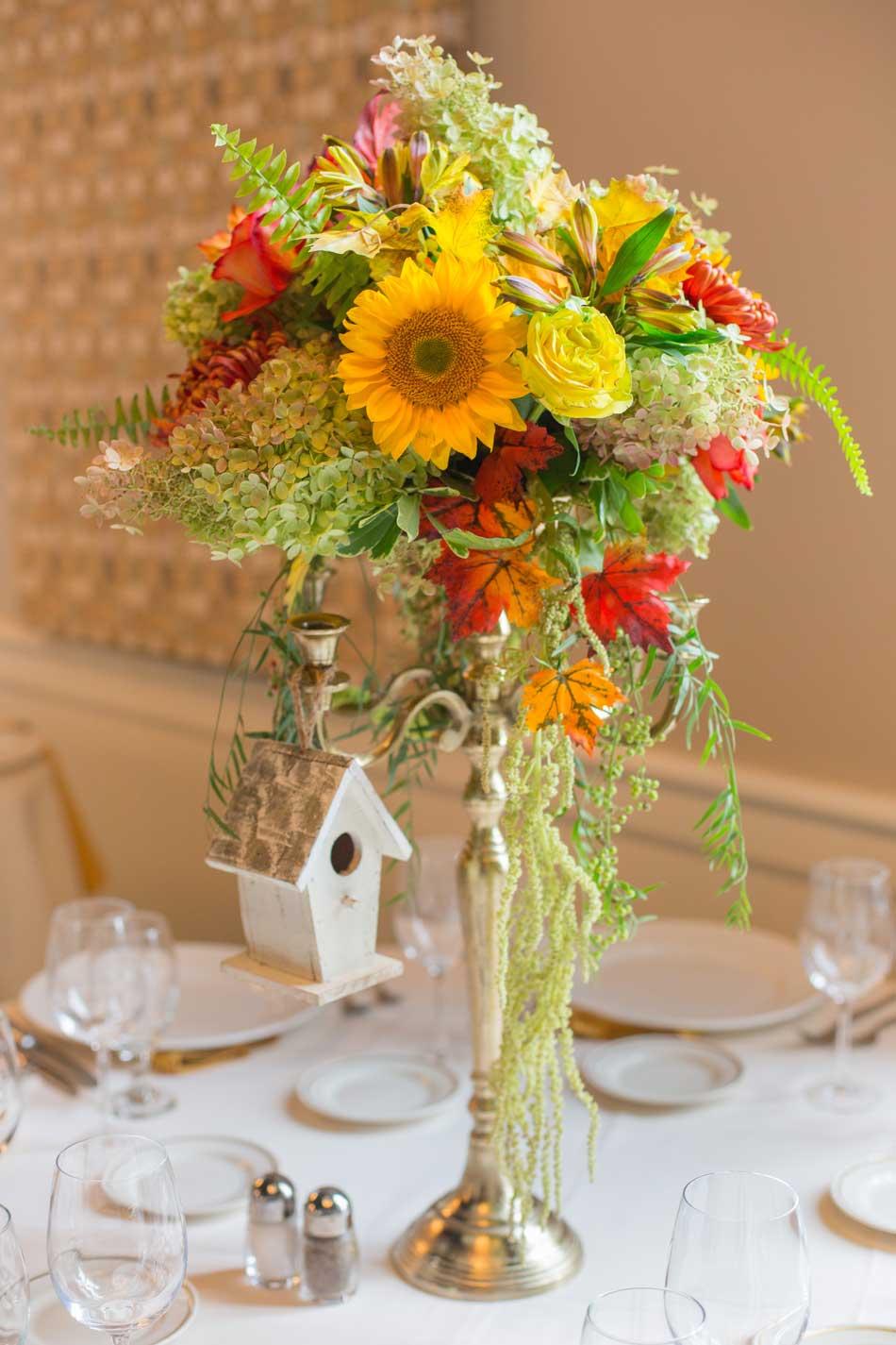 Birdhouse Themed Floral Reception Centerpieces