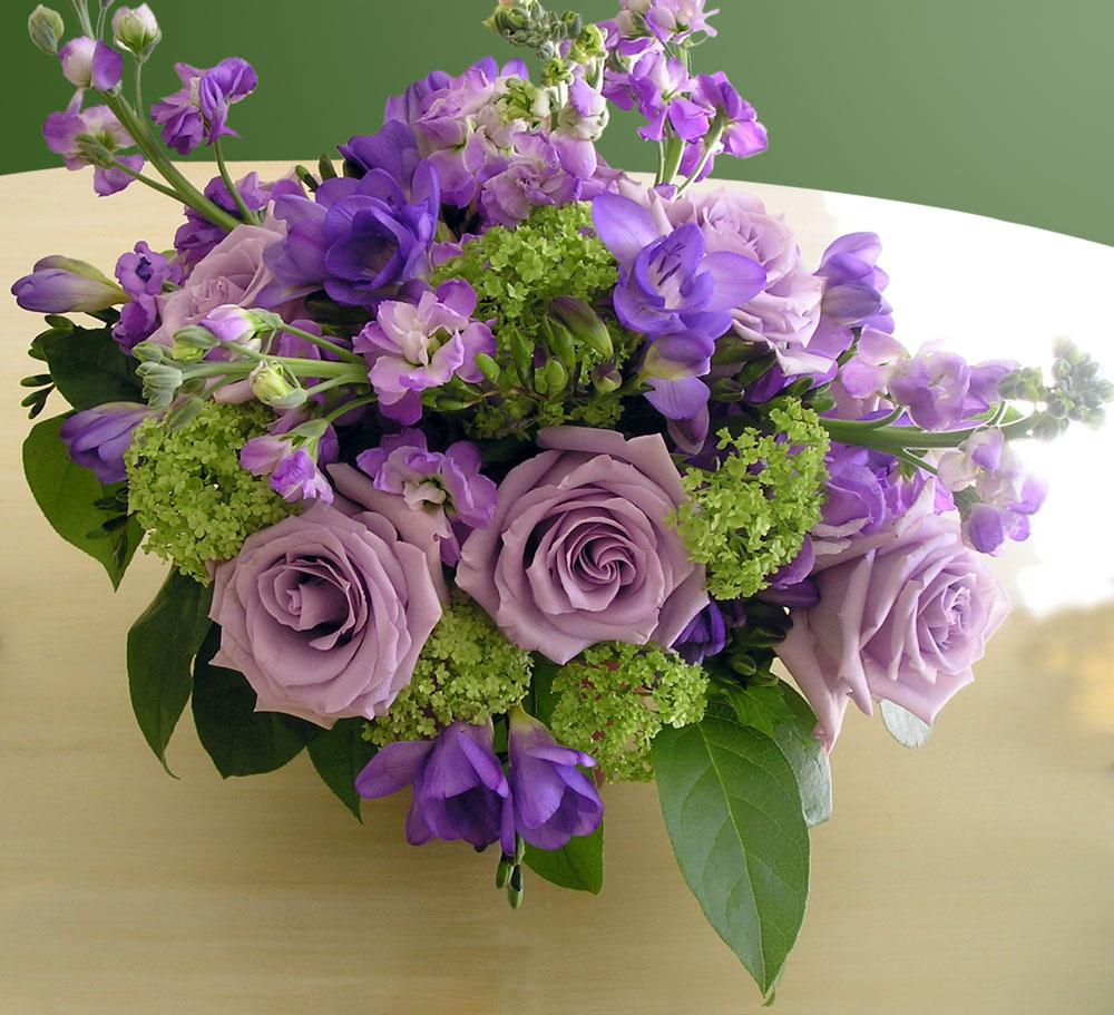 Lavender & Deep Purple Floral Centerpiece