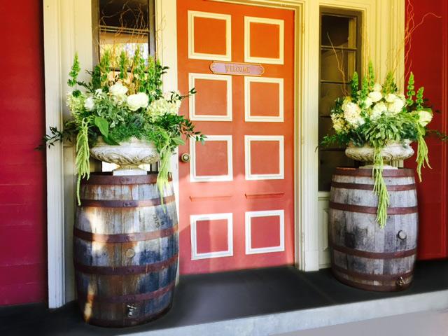 Rustic Wedding Reception with whiskey/wine barrels