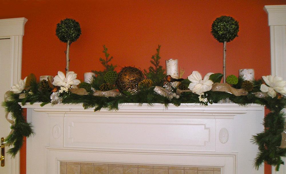Inviting Winter Holiday Floral Mantel Display