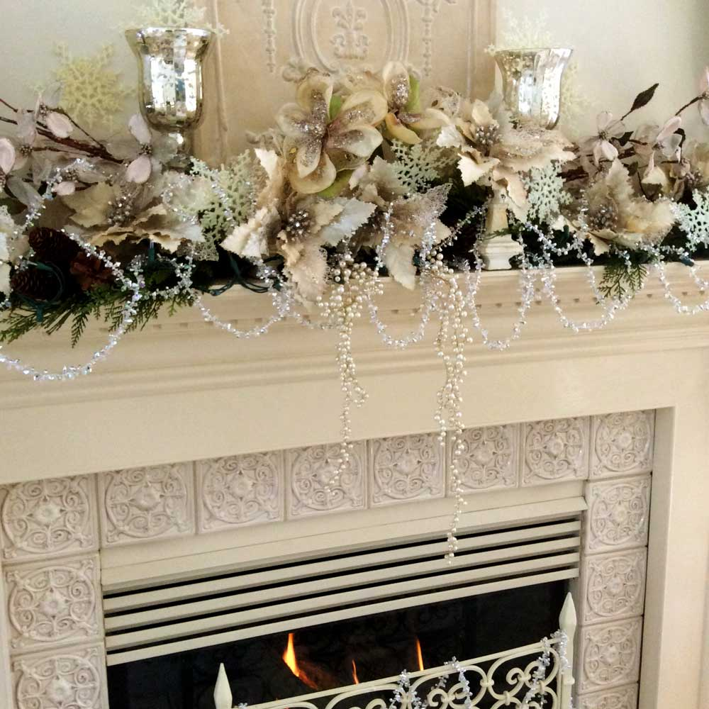 Silver & White Holiday Mantel Arrangement