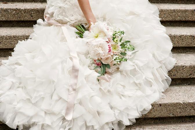 Bride's wedding bouquet with blush colors, dahlias & peonies : Meg Messina Photography