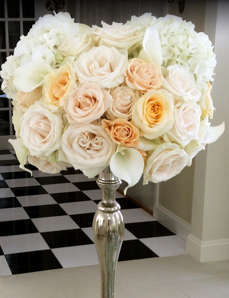 Winter White Candlestick Wedding Reception Floral Arrangement