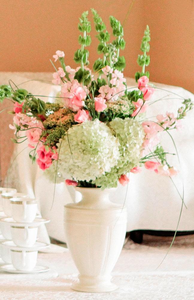 Hydrangea Inspired Reception Floral Arrangement