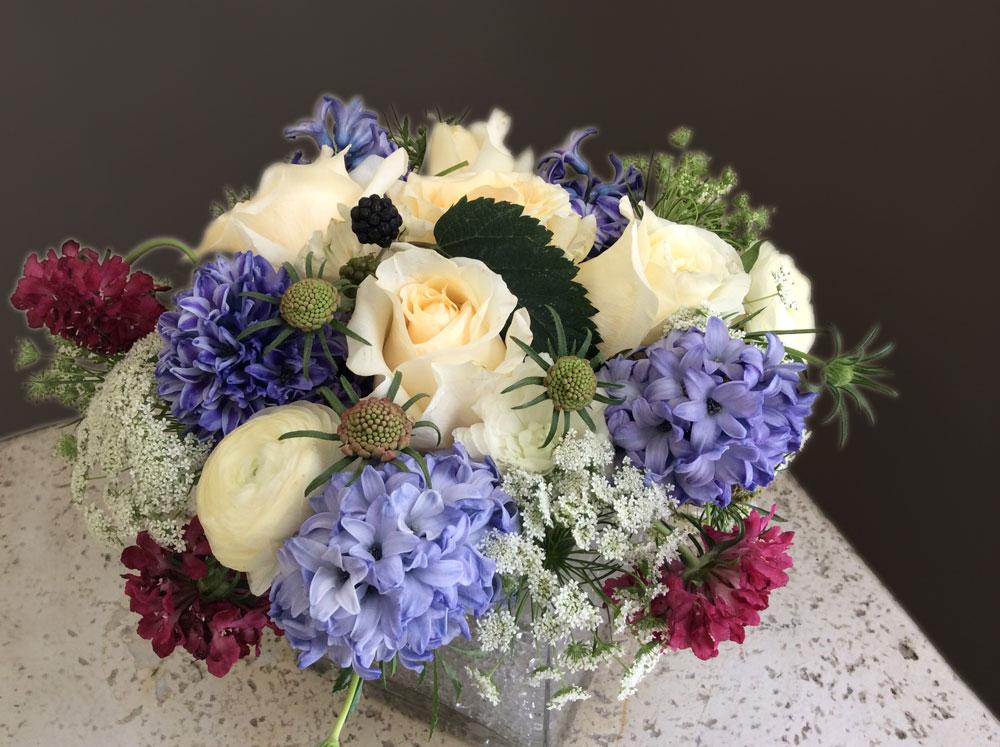 Hyacinth & Roses Reception Floral Arrangement
