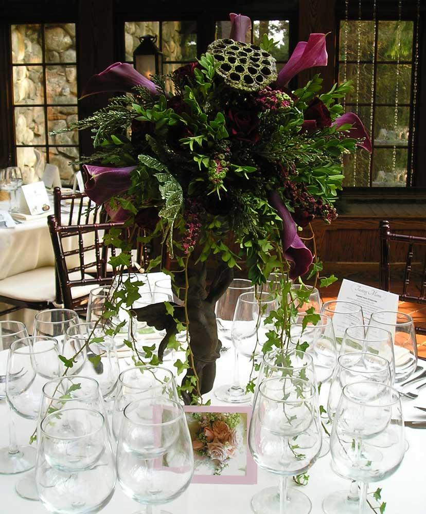 Tall, Jewel-toned Floral Wedding Reception Arrangement