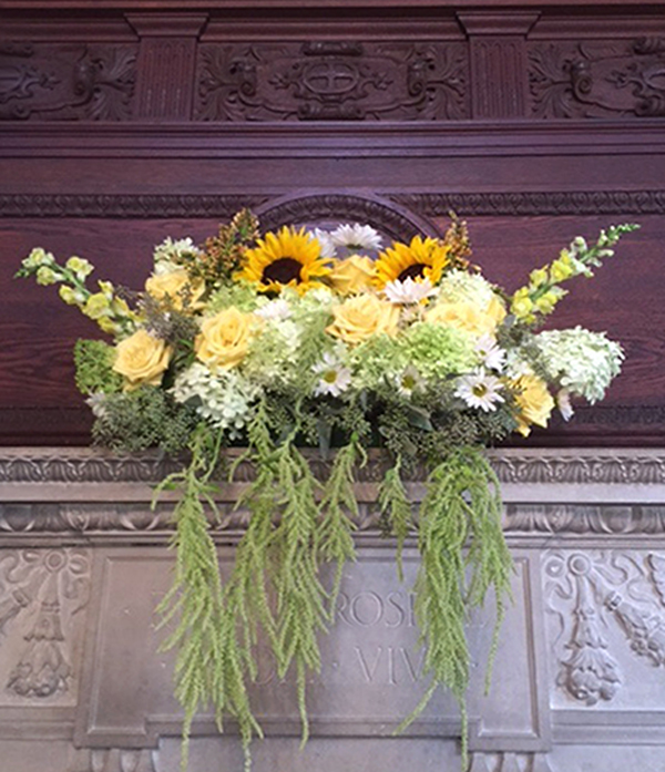 Willowdale estate mantle of sunflowers