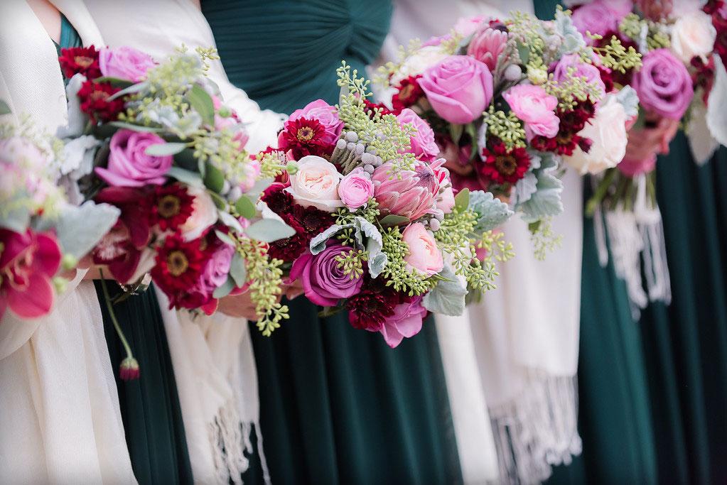 Mauve & pink bouquets