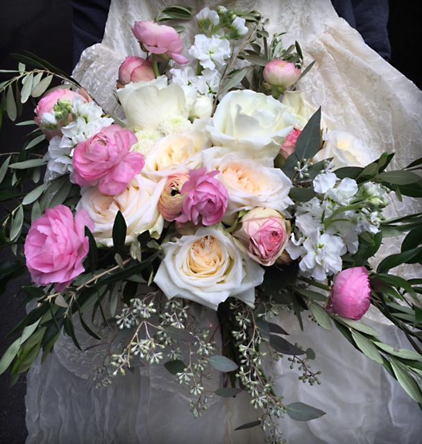 Pink cascading bouquet