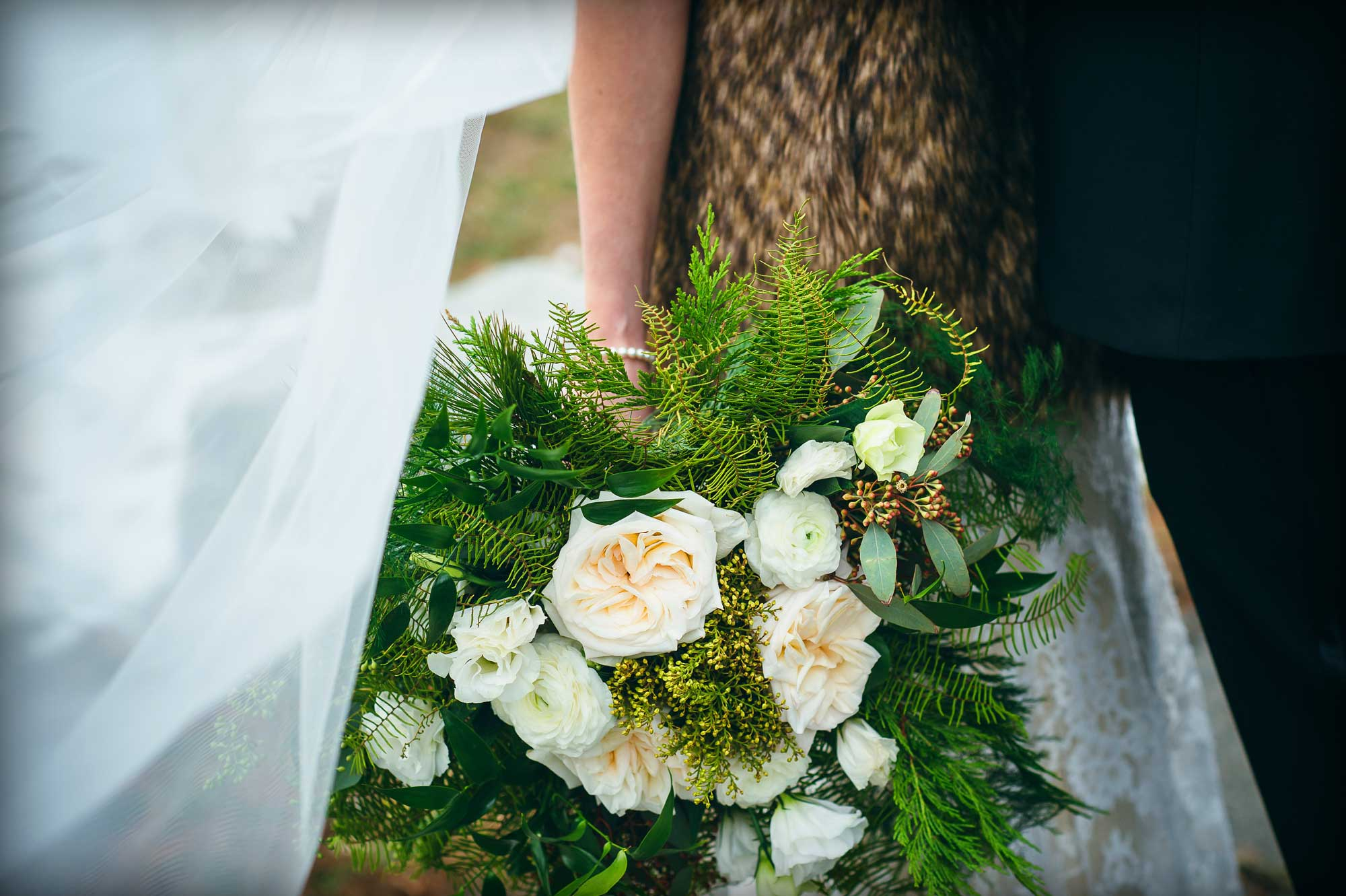 Winter bouquet with greenery