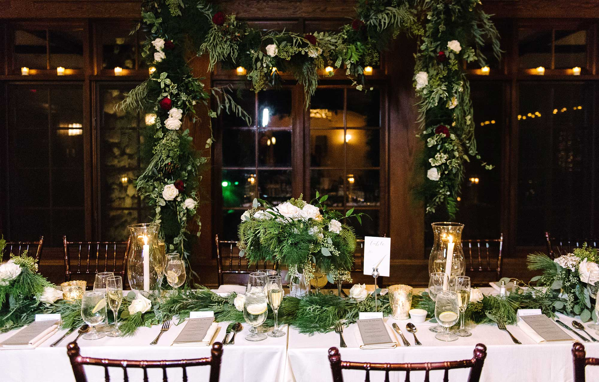 Holiday Table Decor with garland & roses