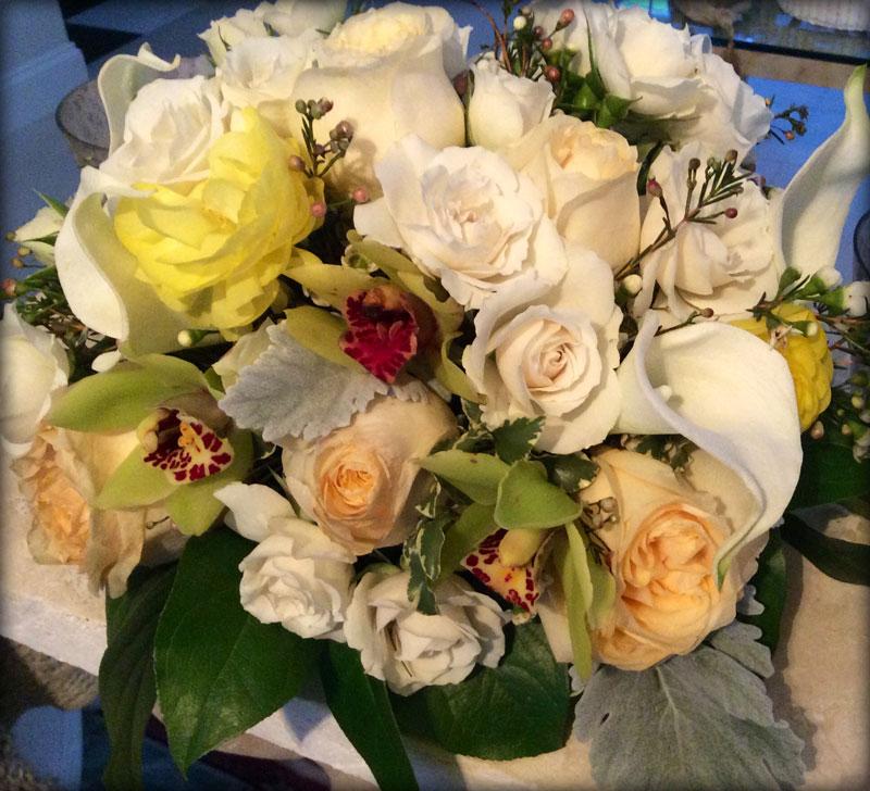 Bouquet in Peach, Green, White & Yellow