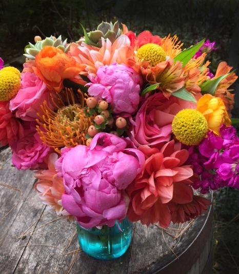 Orange & Pink Bridal Bouquet