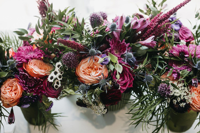 Burganday & Coral Floral Centerpiece