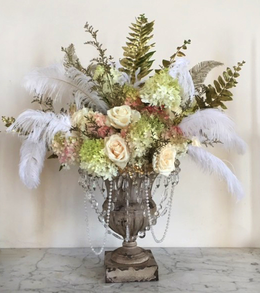 Roses & Feathers Wedding Centerpiece