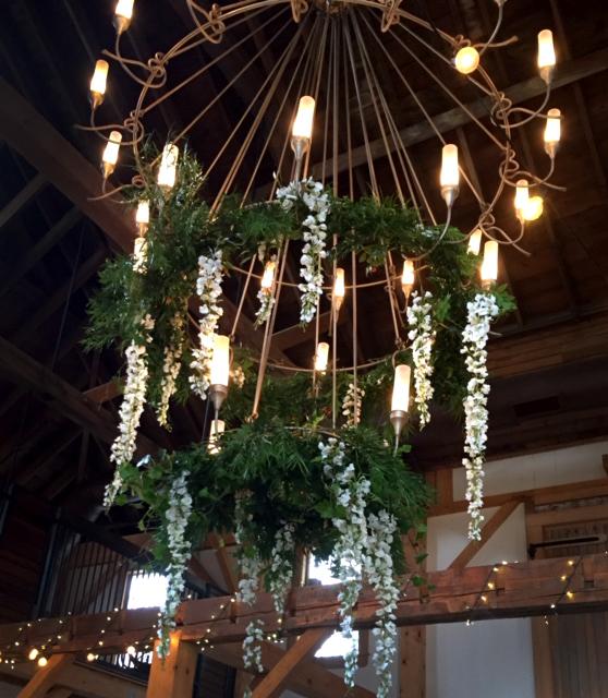 Flower Draped Wedding Chandelier
