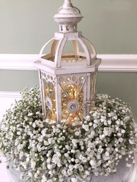 White Wedding Lantern & Baby's Breath