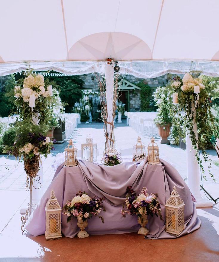 Lilac Purple Wedding Reception Table