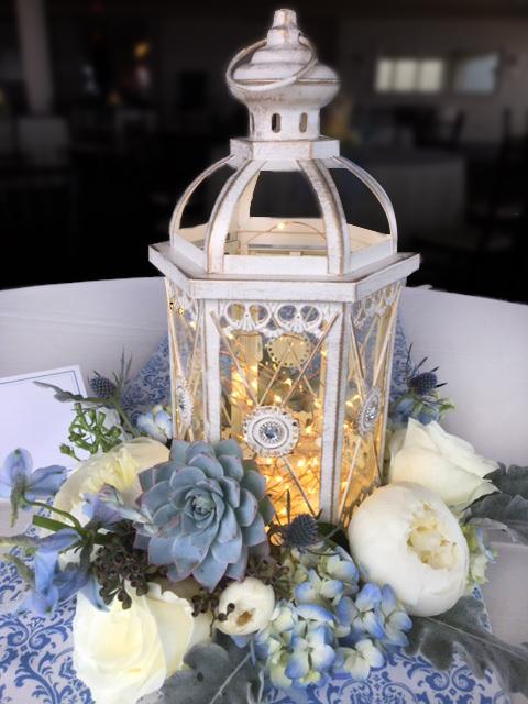 White Table Lanterns Blue Hydrangeas