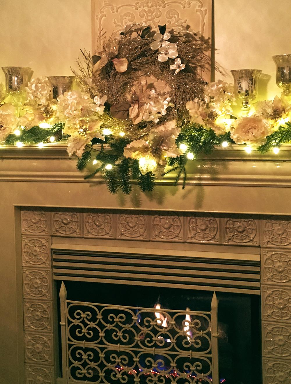 Christmas Mantel Swag with Lights