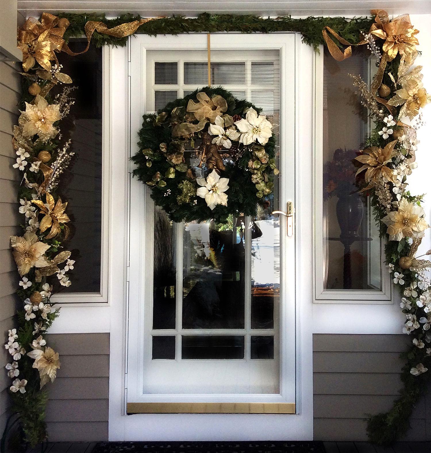 Gold & White Winter Door Decor Swag & Wreath