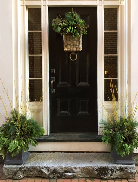 Winter Holiday Doorway Basket with Greens