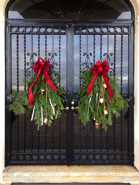 Winter Holiday Door Swags with Bells