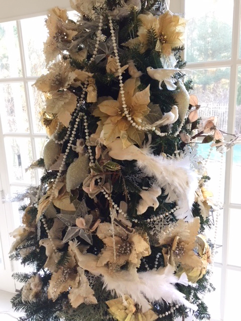 White & Gold Christmas Tree Pearls & Birds