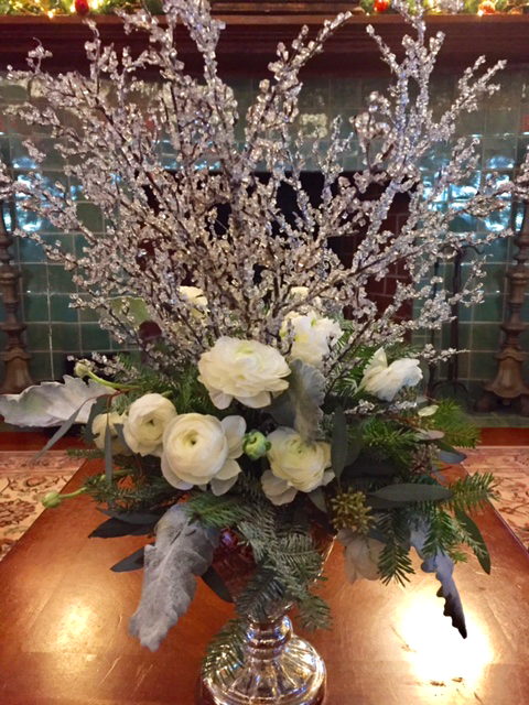 Winter White & Silver Holiday Centerpiece