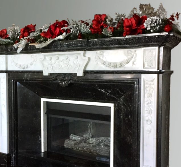 Silver & Red Winter Holiday Mantel Swag