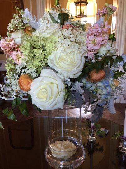 Lush Garden Flowers Wedding Centerpiece