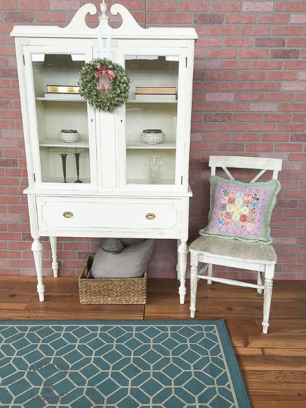 white painted bookshelf