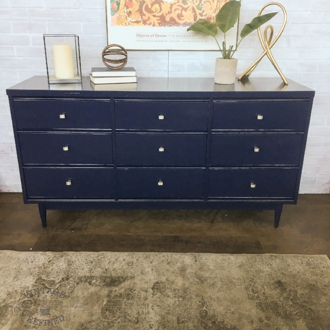 Modern MCM Dresser sprayed in navy lacquer currently available in my Etsy shop
