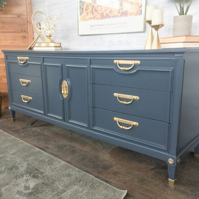 Dark grey lacquer dresser with brass hardware and accents - No longer available