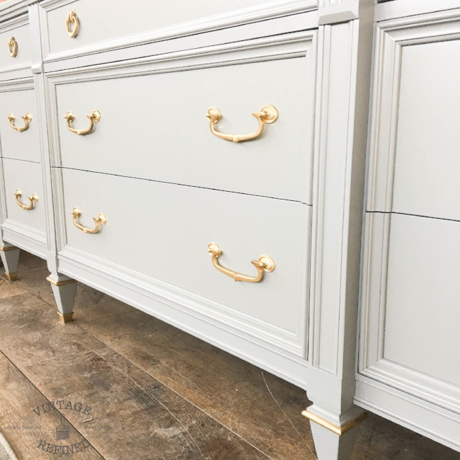 Light grey lacquer dresser with brass hardware and accents - No longer available