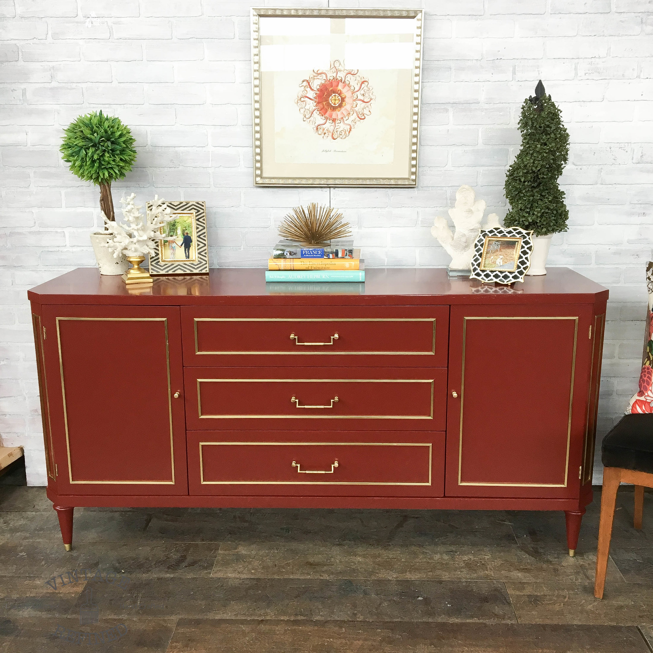 red lacquer buffet