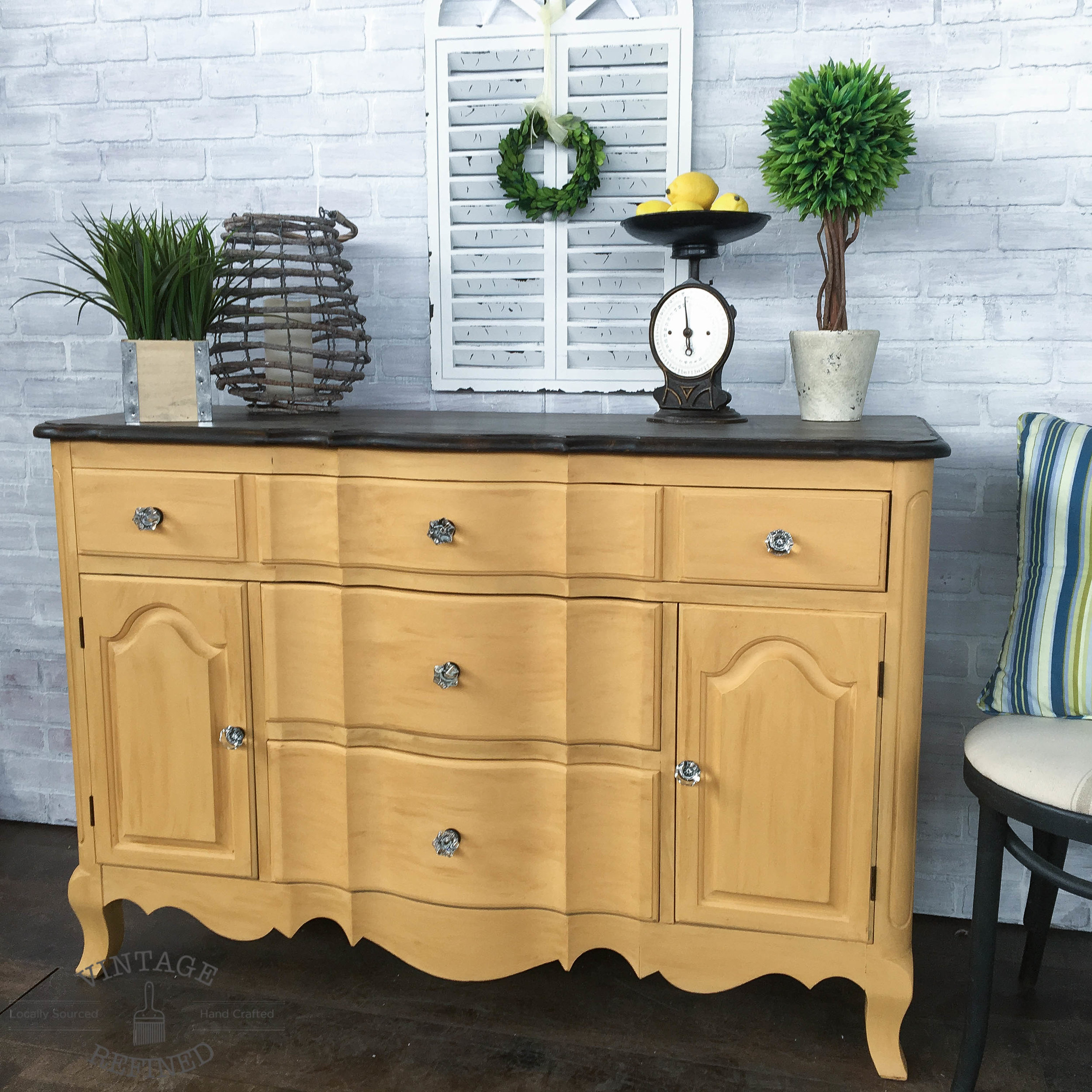 yellow painted buffet