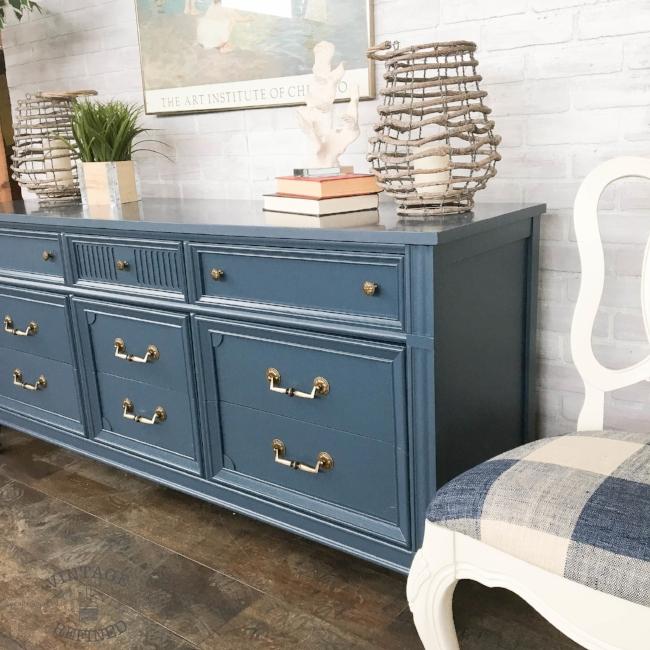Blue nine drawer dresser
