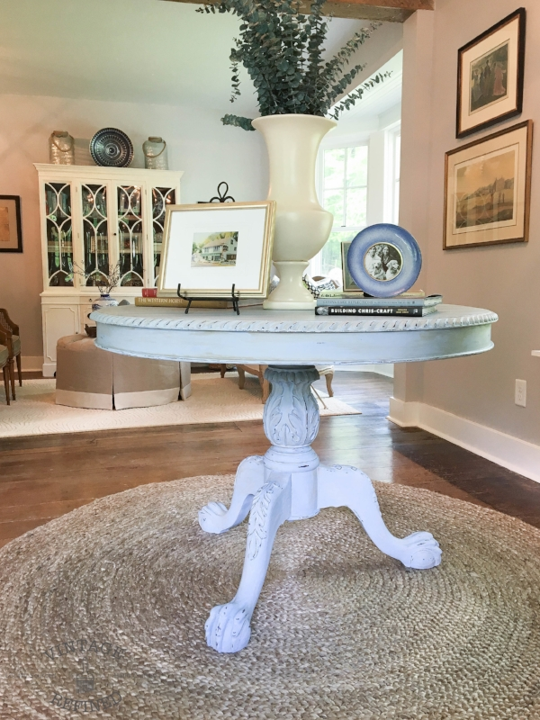blue entryway table
